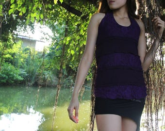 Violet Lace Layer Pixie Top, Fairy Tank Top, Gypsy Boho Hippie Top, Yoga Halter Top, Goa Trance Clothing, Belly Dance, Festival Costume
