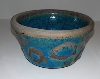 Aqua crackle raku mini-plant pot