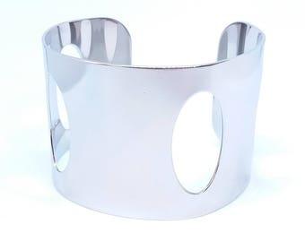Bracelet cuff bangle - ref943 - steel - 18 GR - geometric pattern