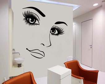 Wall Decal Window Sticker Beauty Salon Woman Face Eyelashes Lashes Eyebrows Brows t69