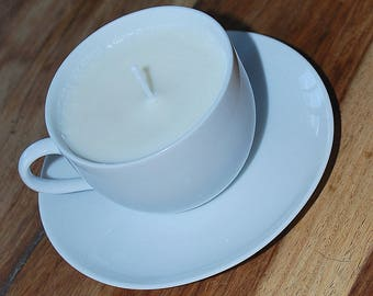 White Tea Cup and Saucer Candle (Eucalyptus scent)