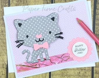 Kitty Bobble Head Action III - Birthday Card