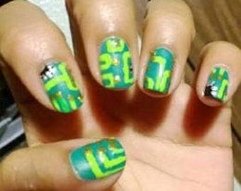 Nerdy, geeky, random, cute, sports, press on nails