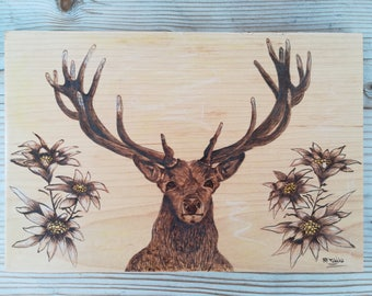 Woodburning art, pyrography art, rustic handmade wood, wood burned, wood wall decor, gift for mountain lovers, deer and edelweiss flowers