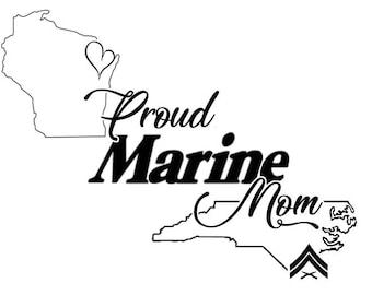 Proud Marine, Army, Navy, Air Force, Coast Guard - Vinyl Decal