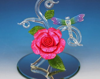 Handmade Glass Dragonfly with Red and Glitter Rose