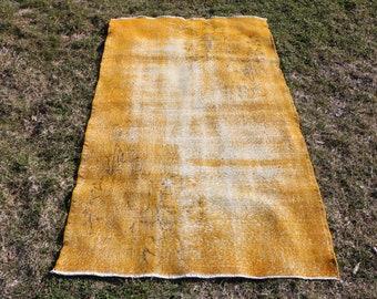 yellow color turkish rug, Free Shipping  3.8 x 6.7 ft. bohemian rug, overdyed area rug, small size rug, boho one color rug ethnic rug MB450