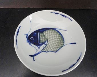 Fine Antique Chinese Porcelain Cobalt Blue Koi Fish Plate Low Bowl Art #2 of 3