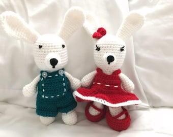 Handmade crochet bunny boy and girl