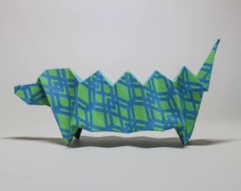 Decorative Origami Dachshund Dog made from hand stamped Indian paper - Paper dog - Dachshund - Origami - All natural