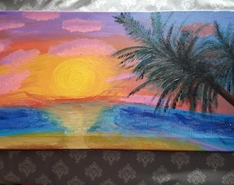 Sunset on the beach, acrylic on canvas