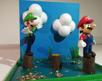 Mario and Luigi Diorama/Scene/Handcrafted/Diy