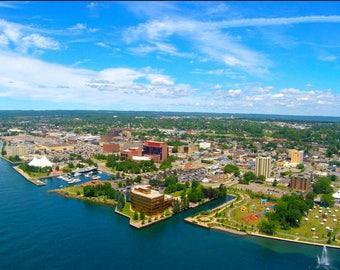 Riverside aerial view of Sault Ste Marie, Ontario
