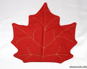 Placemat table, placemat red, placemat round table, tablecloth pad, placemat embroidered, placemat coaster, maple leaf fabric, handmade.