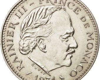 monacorainier iii5 francs1974 au(55-58)copper-nickelkm150gadoury mc 153