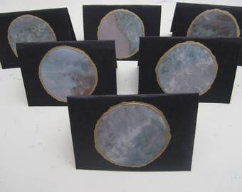 Handmade Set of 6 Small Greetings Cards