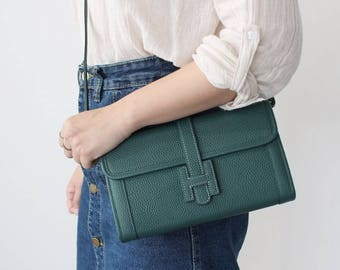 Togo Leather Clutch with 2 Straps / Cowhide Leather Handbags / Leather Cross body Bag / Detachable Strap / Made in Korea