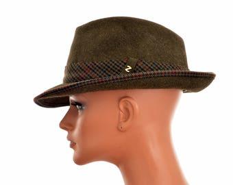 "Austrian loden handmade FEDORA HAT by ZAPF / Loden Plankl, Wien / Hutmacher Zapf Wefern / hunter green / size 55 cm or 21.5"" / made of hair"