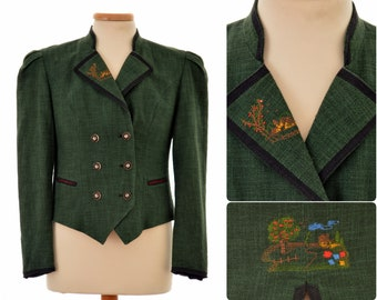 Austrian Trachten JACKET by M&K / womens size Eur 38, UK 10, Small-Medium / wool and linen blend / green colour / with embroidery
