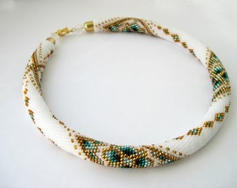 """Beaded necklace """"Rhombus with chain"""""""