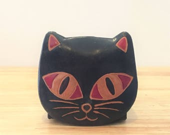 Vintage Faux Leather Cat Coin Purse / Vintage Faux Pop Up Cat Coin Wallet / Faux Leather Coin Pouch with Cat Face