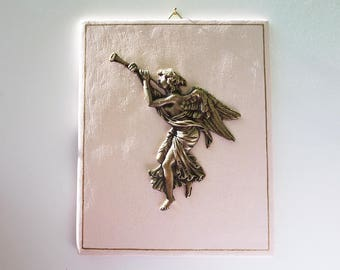 Painting of Music Angel in Golden Brass