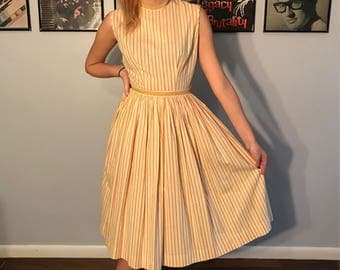 Vintage 1950's Sandra Lee Striped Cotton Day Dress