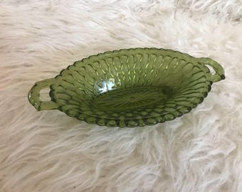 Green Glass Candy Dish
