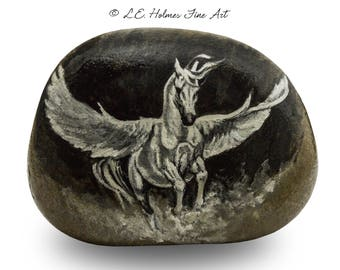 Fantastical Flying Horse Painted on Stone | Rock Painting Art by L.E. Holmes