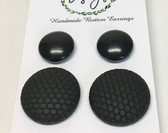 Handmade Fabric Button Earrings -Liquid Black & Black Hexagon,  These beauties just hit the mark!