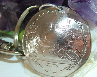 1983 Handcrafted Coin Keyring - Isle of Man TT Fifty Pence - Ron Haslem