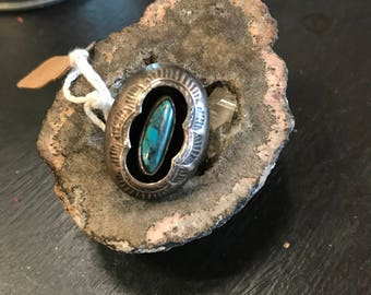 Sterling silver and turquoise shadow box ring