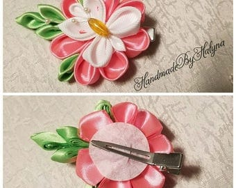 Kanzashi ribbon flower with butterfly hair clip
