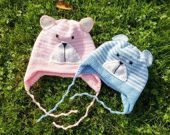 Double Knitted Hat For Kids With(out) Ear Flap/ 60% Merino Wool/ Pom poms/ Butterfly/ Teddy Ber Face