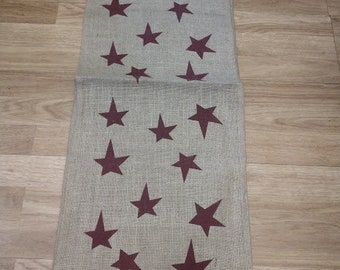 Burlap Table Runner with Red Stars