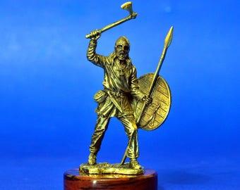 Bronze Viking Warrior With Fine Details Art Deco Statuette Sculpture Figurine