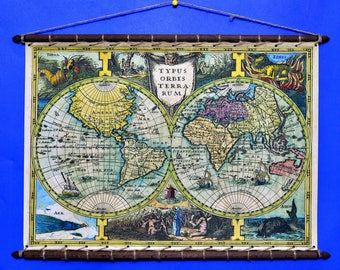 Ancient Old Rare Biblical World MAP, 1632, Mercator, Print On 100% Cotton Canvas And swen to a Round Wooden Hanger Frame with Vintage Rope