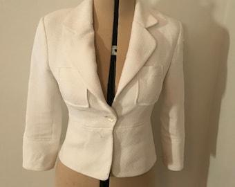White Vintage Suit Cropped Jackie O Jacket