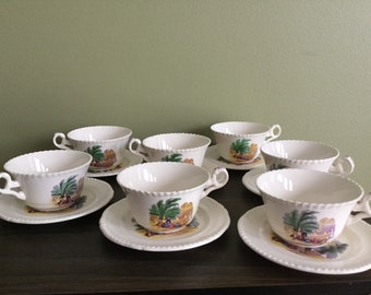SPODE CAMPAGNA COPELAND Antique Tea Cups With Sausers set of seven made in England