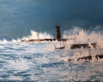 Lighthouse oil painting (original)