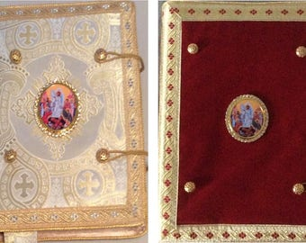 Gospel and Epistle Covers (εὐαγγέλιον, evangelion) in your choice of Red Velvet or Ecclesiastical Brocade Fabrics