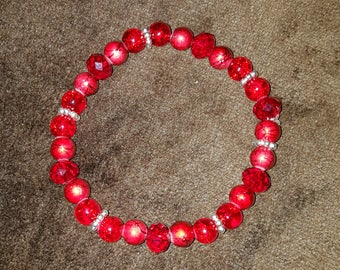 Red Czech Crystal Pearl Silver Metal Bracelet 8 Inches