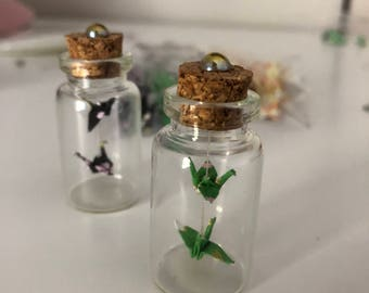 Mini Origami Cranes in Glass Bottle