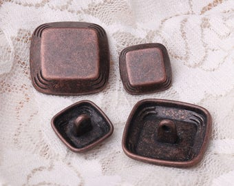 copper button metal button 10pcs 2 sizes 23/15mm square shank button