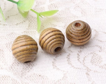 beads 10pcs vintage wooden beads grooved striped beads 14mm oval beads flaxen color