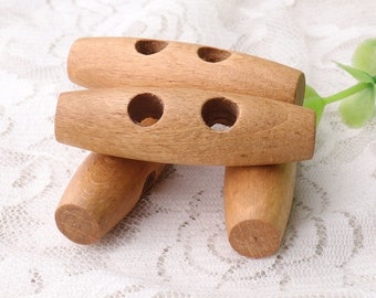 2 hole toggles wood toggle button 6pcs 50*15*7mm natural wooden toggle buttons duffel coat toggles coat toggle buttons