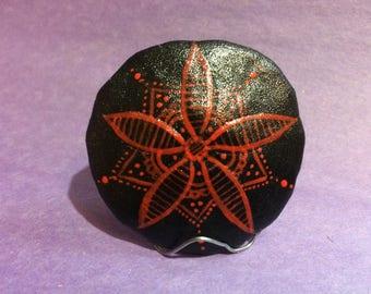 Black and Red Mandala Sand Dollar
