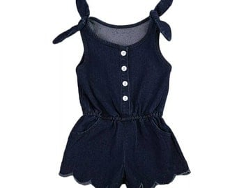 Baby Girl Sleeveless Denim Romper OnePieces Summer Outfits Jumpsuit 0 to 24 m