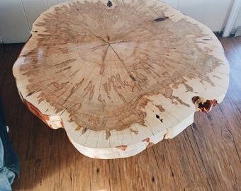 Round live edge coffee table