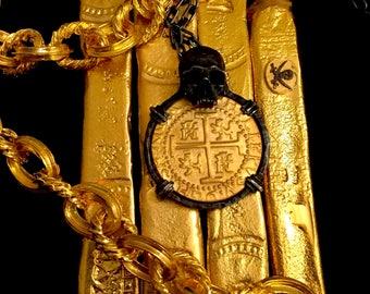 Pirate Skull Shipwreck Treasure Necklace Peru Pendant 1710 8 Escudos Gold Coin Jewelry
